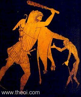 Heracles & Geras | Attic red figure vase painting