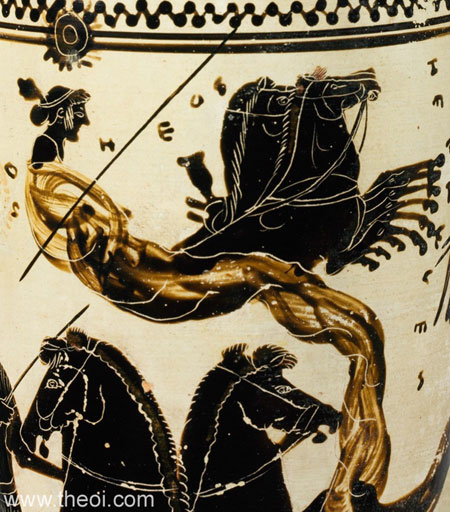 Hemera-Eos goddess of day | Athenian black-figure lekythos C5th B.C. | Metropolitan Museum of Art, New York