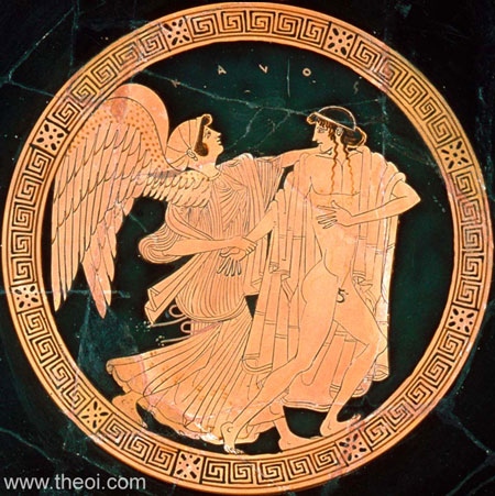 Eos and Tithonus | Athenian red-figure kylix C5th B.C. | Museum of Fine Arts, Boston