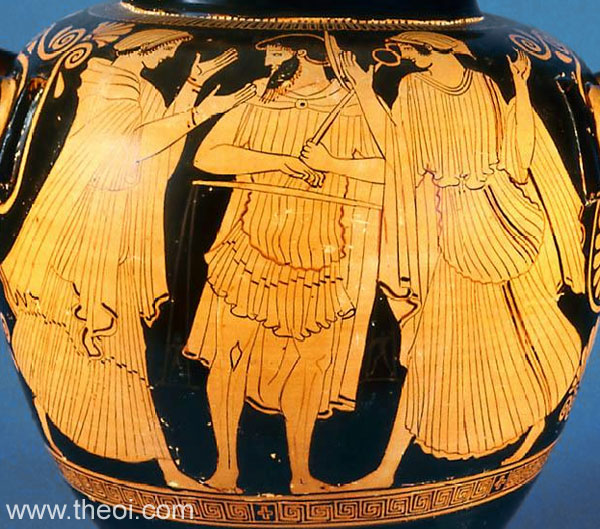 Thetis, Eos, Hermes and the scales of fate | Athenian red-figure stamnos C5th B.C. | Museum of Fine Arts, Boston