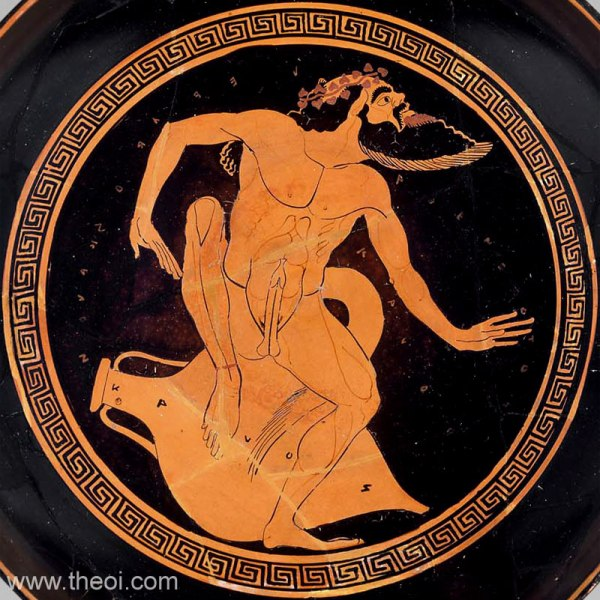 Satyr With Wine Amphora - Ancient Greek Vase Painting