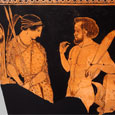 Artemis & Marsyas | Greek vase painting