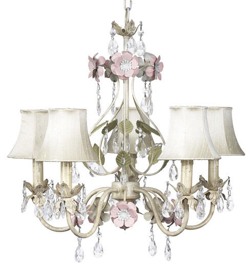 Jubilee-Collection-Flower-Garden-5-Light-Chandelier-with-Plain-Shade-7436-2409