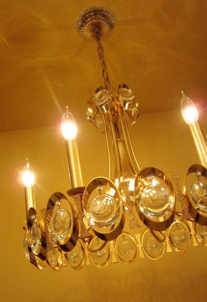 1970s 24K gold crystal chandelier by Sciolari
