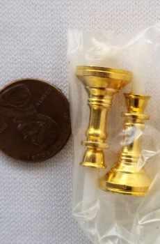 Candles Candlesticks Pair Elegant Brass Dollhouse Miniatures 1:12 Scale