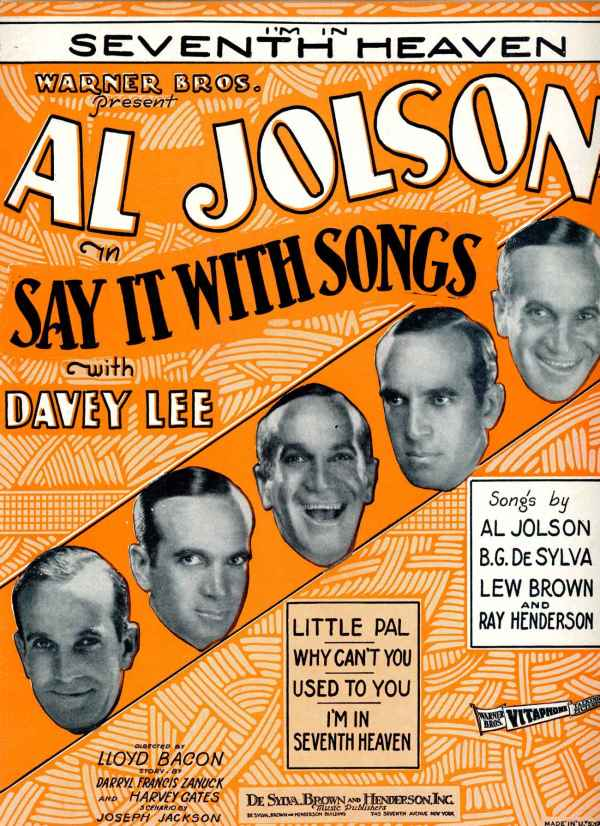 I'm In Seventh Heaven Sheet Music Vintage 1929 Al Jolson Say It With Songs Musical