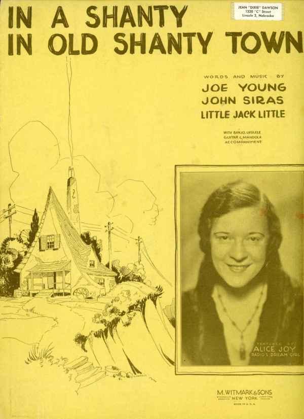 In A Shanty in Old Shanty Town Vintage Sheet Music 1932 Alice Joy Joe Young John Siras