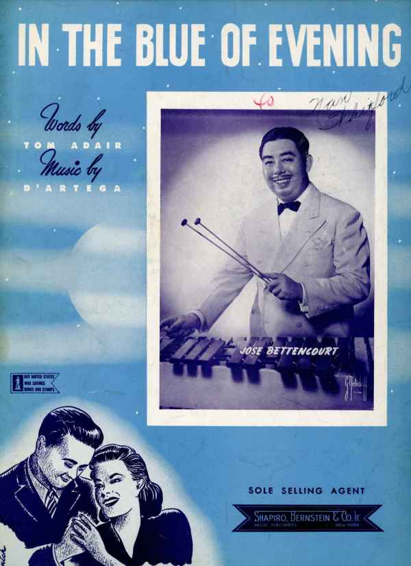 In The Blue of Evening Vintage Sheet Music 1942 Jose Bettencourt Tom Adair D'Artega