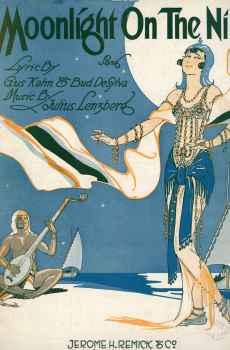 Moonlight On The Nile Vintage Sheet Music 1919 Art Deco Cover Art Egypt Gus Kahn Lenzberg