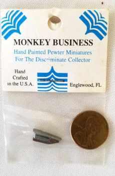 Pewter Desk Stapler Brown Monkey Business Dollhouse Miniatures 1:12 Scale