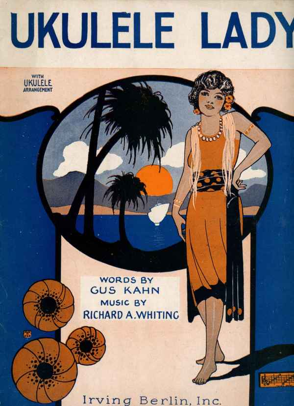 Ukulele Lady Vintage Sheet Music 1925 Hawaiian Art Deco Perrer Cover Gus Kahn Richard Whiting