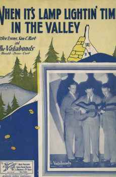 When It's Lamp Lightin' Time In The Valley Vintage Sheet Music 1933 The Vagabonds Leff Cover Art