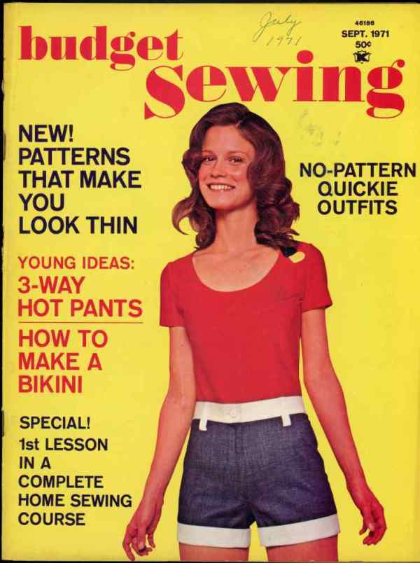 Budget Sewing How To Guide Patterns Hot Pants Bikini Retro Mid Century September 1971
