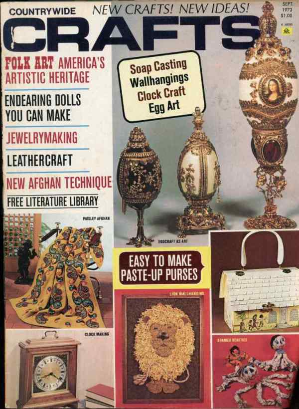 Countrywide Crafts September 1973 Magazine Retro Mid Century Projects Folk Art Eggs Braided Octopus Dolls