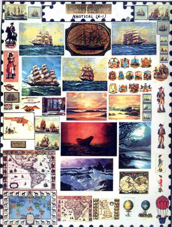 Nautical Maps Ships Page Mini Prints The Picture Show Scaled Miniatures Dollhouse Miniature 1:12 Scale