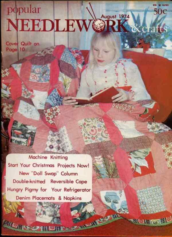 Popular Needlework & Crafts August 1974 Magazine Retro Mid Century Machine Knitting Panda Bears Capes