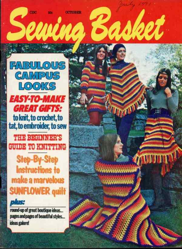 Sewing Basket Volume 2 Number 6 October 1971 Magazine Retro Mid Century Sunflower Quilt Boutique Ideas