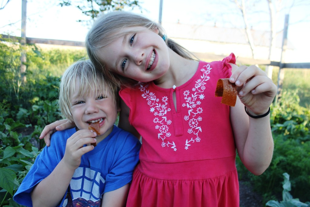 Kids eating fruit leather