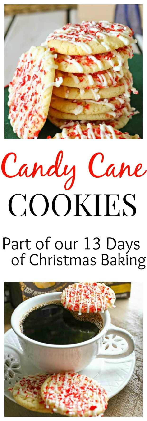 A delicious Candy Cane Cookie, perfectly soft and drizzled with white chocolate, it is the perfect cookie for dipping in your hot cocoa!