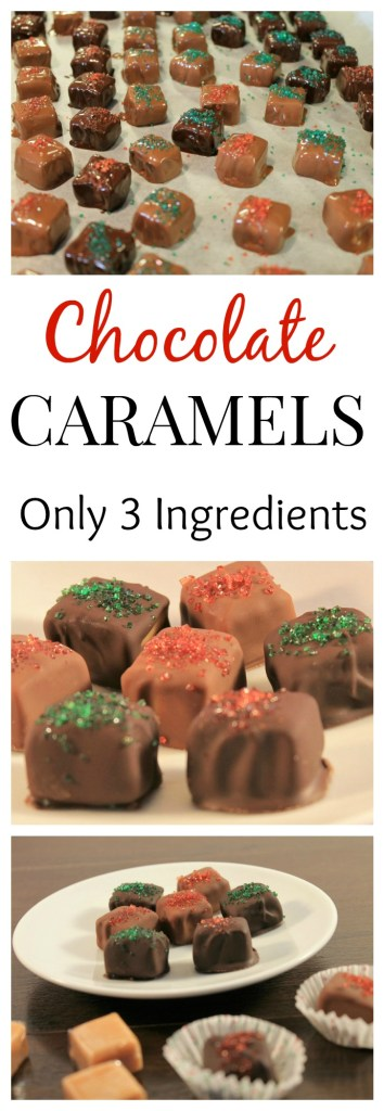 Chocolate Caramels - Only 3 ingredients for this tasty Holiday Caramel! The chewy caramel is covered in milky chocolate, a perfect flavor combination!
