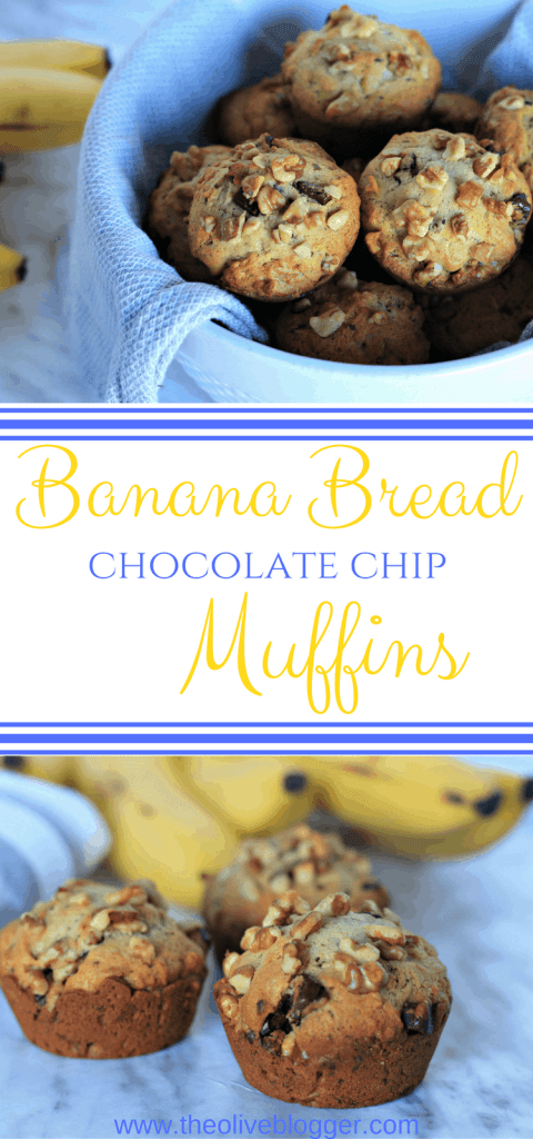 Chocolate Chip Banana Bread Muffins - these delicious muffins are easy to make and perfectly moist with just the right amount of chocolate throughout. Great for a mid-morning snack or a late night craving. #BananaMuffins #EasyMuffinRecipes