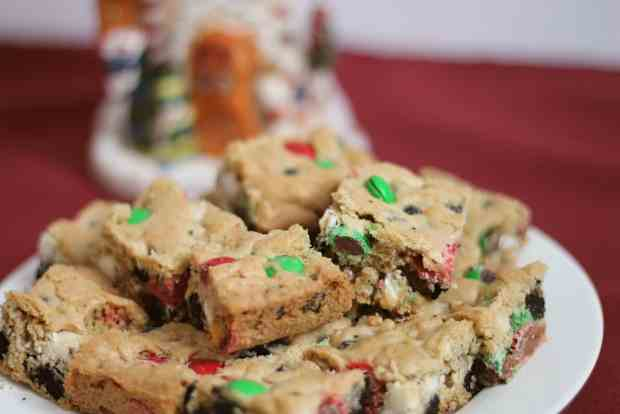 Cookie Bars with M&Ms on Christmas Plate