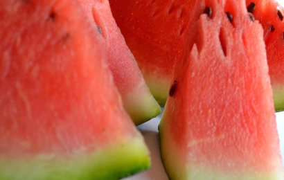 Watermelon sorbet with olive oil and sea salt