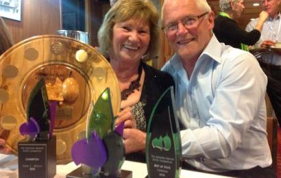Tony and Carol O'Neill with awards received at the 2015 Australian National Oil Show.