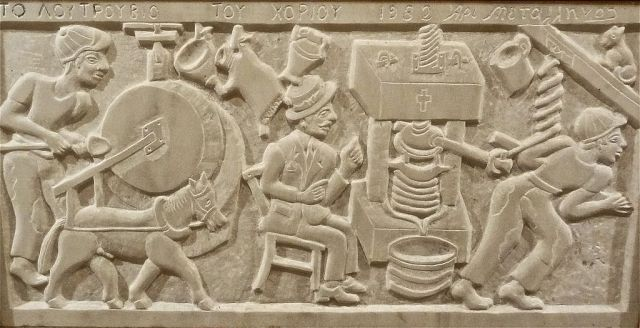 Stone tablet image pressing the farmers olive oil