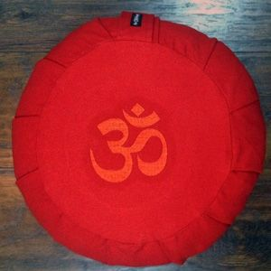 Zafu Round OM Meditation Pillow- Red