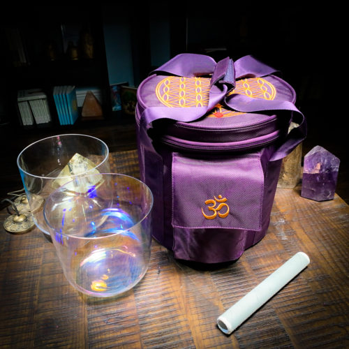 purple tall crystal singing bowl carry case