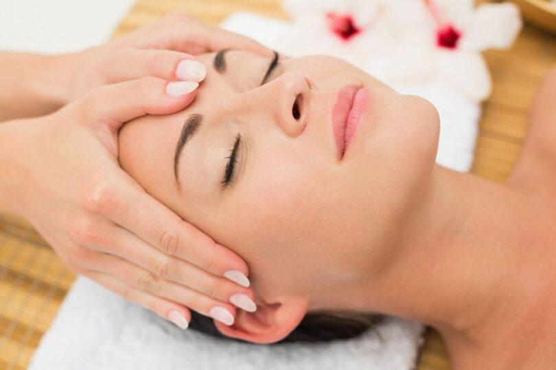 enjoying a head massage in the health spa