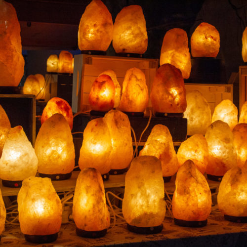 group Himalayan salt lamps lit