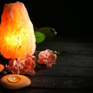 Himalayan salt lamp lit