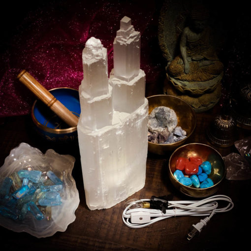 Selenite Lamp Double Tower unlit