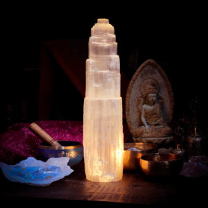 Selenite Lamp Large 13""