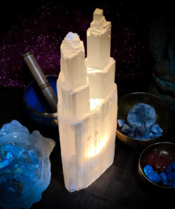 Selenite Lamp Double Tower