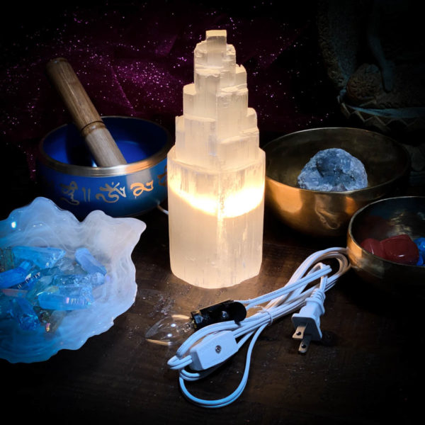 Selenite Lamp Small with Cord and bulb included