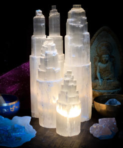 Selenite Lamp Group of sm, med, large and double tower