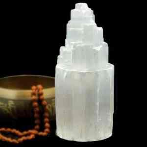 """Selenite Mountain Lamp Med  11""""-12"""""""