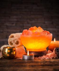 himalayan salt lamp bowl with rocks
