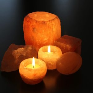 Natural Shaped Himalayan Salt Candle Holder- Tea Light Candles
