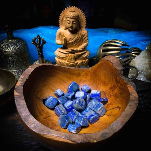Lapis Lazuli with meditation bells and Buddha