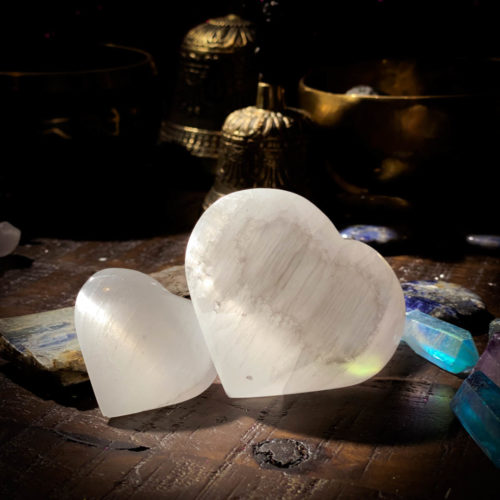 Selenite Hearts large and small group shot