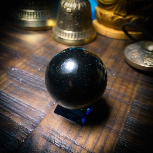 Shungite sphere overhead view