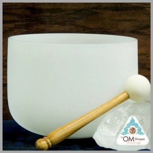 CHAKRA CROWN 8 INCH CRYSTAL SINGING BOWL WITH STRIKER AND ORING NOTE B