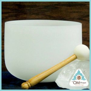 CHAKRA THROAT 8 INCH CRYSTAL SINGING BOWL WITH STRIKER AND ORING NOTE G
