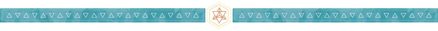 teal triangle page divider with orange merkaba in the middle