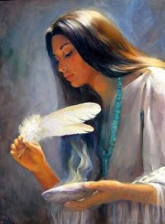 Depiction of a Native American smudging ceremony