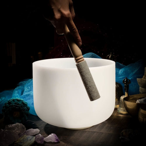 Crystal Singing Bowl Wooden Suede and Rubber Mallet